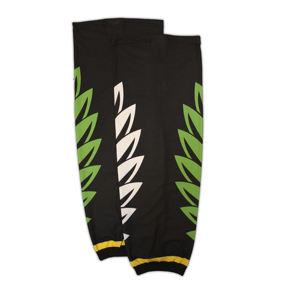 Гамаши хоккейные анатомические черные (бело-зеленый рисунок) купить в интернет-магазине LutchShop.ru