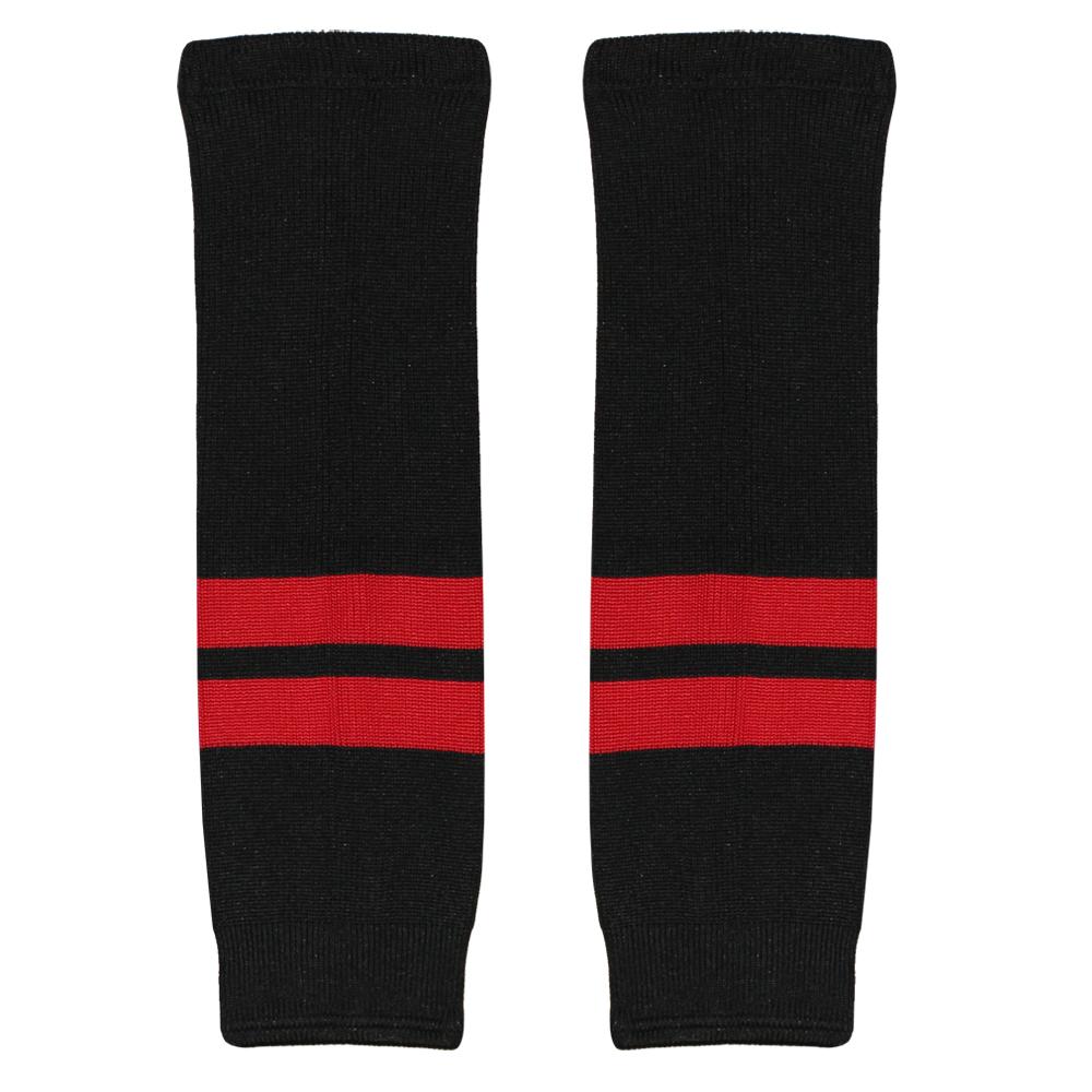 Гамаши хоккейные вязанные черные (красные полосы) купить в интернет-магазине LutchShop.ru